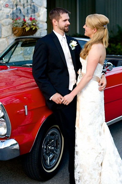 bride and groom, classic car